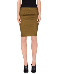 Dondup Knee Length Skirts Military Green