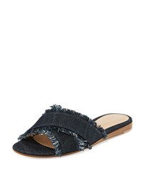 Gianvito Rossi Frayed Denim Crisscross Flat Sandal Slide