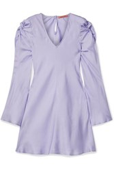 Maggie Marilyn Just In Time Knotted Silk Satin Mini Dress Lilac