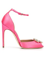 Brian Atwood Peep Toe Pumps Pink And Purple