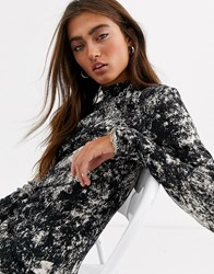 Noisy May Plisse High Neck Top In Marble Print Black