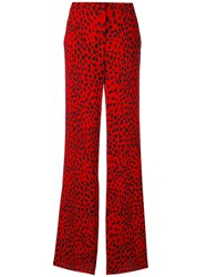 Roberto Cavalli Printed Palazzo Pants Women Silk Viscose 38 Red