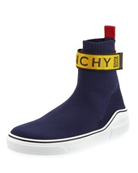 Givenchy 4G Webbing Knitted Mid Top Sneakers Blue Yellow
