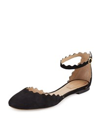 Chloe Lauren Scalloped Suede Ankle Strap Flat Black
