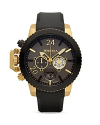 Brera Orologi Militare 16K Yellow Gold And Black Ionic Plated Stainless Steel Watch With Black Rubber Strap 48Mm