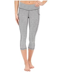 Pocket Capri Legging Fossil Heather Lucy White Stripe Women's Capri Gray