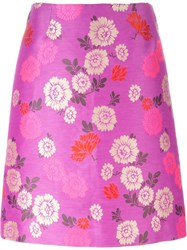 Etro Floral Print A Line Skirt Pink And Purple