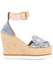 See By Chloe Glyn Floral Wedge Espadrilles Blue