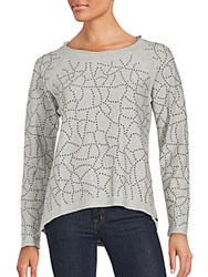 Marc New York Performance Plus Size Beaded Cotton Top Light Grey