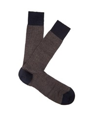 Pantherella Finsbury Herringbone Knit Merino Blend Socks Navy Multi