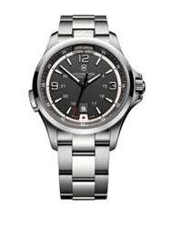 Victorinox Stainless Steel Black Dial Watch Silver