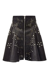 Rodarte Black Laser Cut Leather Studded A Line Skirt