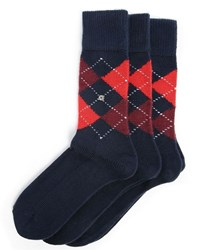 Burlington 3 Pair Pack Of Preston Navy Red Check Socks