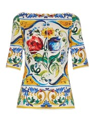 Dolce And Gabbana Majolica Print Silk Blend Charmeuse Top White Multi