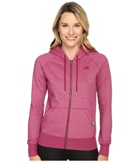 New Balance Classic Full Zip Hoodie Deep Jewel Heather Women's Sweatshirt Pink