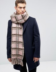 Asos Check Scarf In Brushed Yarn In Pink Pink