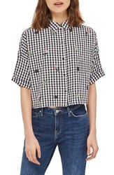 Topshop Women's Kady Embroidered Gingham Shirt Black Multi