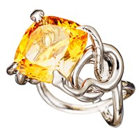 Aenea Sarpa Ring Citrine Silver Yellow Orange
