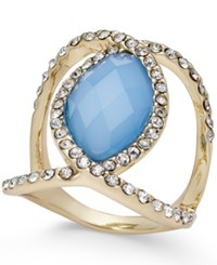 Inc International Concepts Gold Tone Faceted Blue Stone And Pave Statement Ring Only At Macy's
