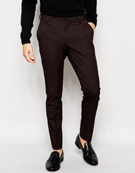 Selected Homme Check Trousers In Skinny Fit Red