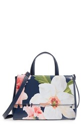 Ted Baker London Peobe Chatsworth Bloom Faux Leather Satchel Blue Navy