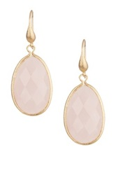 Rivka Friedman 18K Gold Clad Rose Quartz Teardrop Dangle Earrings Pink