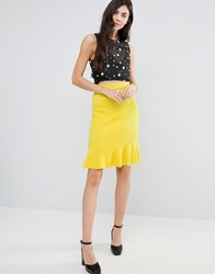 Endless Rose Peplum Midi Skirt Yellow Green