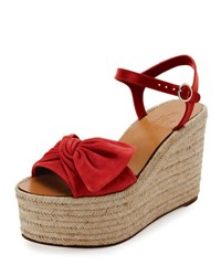 Valentino Tropical Bow Espadrille Wedge Sandal Red