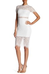 Just Me Sheer Waist Lace Dress White