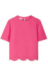 Valentino Studded Scalloped Wool And Silk Blend Crepe Top Pink