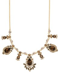 Givenchy Topaz And Crystal Frontal Necklace Gold