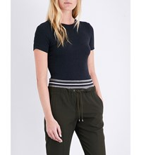 Brunello Cucinelli Ribbed Jersey T Shirt Charcoal