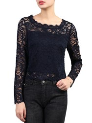 Jolie Moi Scalloped Lace Top Navy
