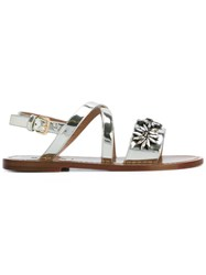 Marni Floral Crystal Sandals Women Leather Patent Leather Rubber 36.5 Grey