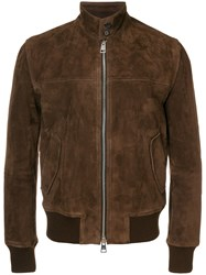 Ami Alexandre Mattiussi Suede Zipped Jacket Harrington Collar Brown