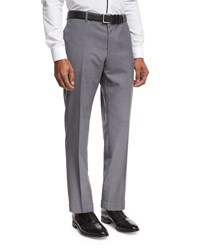 Boss Solid Flat Front Straight Leg Trousers Light Gray