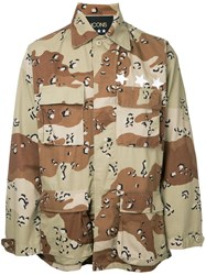 Icons Camouflage Shirt Men Cotton Xs Brown