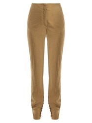 Lemaire Silk Blend Buttoned Cuff Trousers Tan