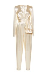 Zuhair Murad High Waisted Lame Jumpsuit Gold