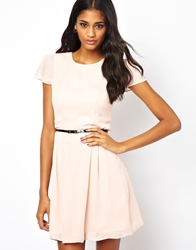Asos Skater Dress With Short Sleeves And Belt Peach