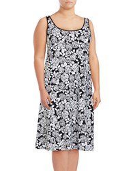 Lord And Taylor Plus Floral Nightgown White
