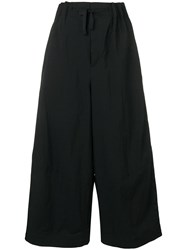 Y 3 Cropped Wide Leg Trousers Black