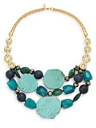 Alexis Bittar Elements Jade Pyrite Chrysocolla And Turquoise Multi Row Necklace Goldtone Gold Blue