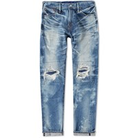 Denim By Vanquish And Fragment Damaged Five Years Tapered Jean Blue