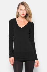 Women's Lamade Long V Neck Cotton Tee Black
