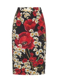 Dolce And Gabbana Poppy And Daisy Print Pencil Skirt Red White