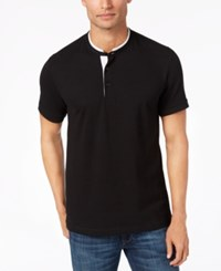 Kenneth Cole Reaction Knit Band Collar T Shirt Black
