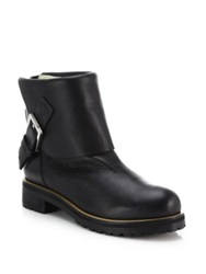 Chlo Fold Over Leather Ankle Boots Black