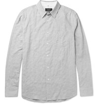Rag And Bone Beach Sim Fit Puppytooth Stretch Cotton Shirt Gray