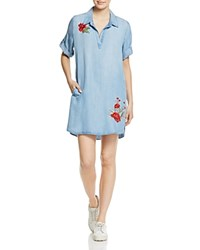 Aqua Embroidered Chambray Shirt Dress 100 Exclusive